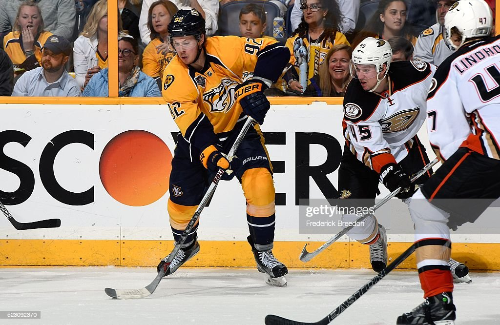 Ryan Johansen #92 of the Nashville Predators skates against Sami Vatanen #45 of the Anaheim Ducks during the third period in Game Four of the Western Conference First Round during the 2016 NHL Stanley Cup Playoffs at Bridgestone Arena on April 19, 2016 in Nashville, Tennessee.