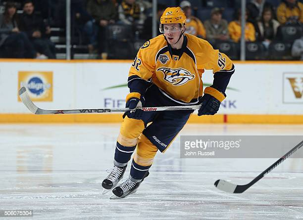 Ryan Johansen of the Nashville Predators skates against the Minnesota Wild during an NHL game at Bridgestone Arena on January 16 2016 in Nashville...