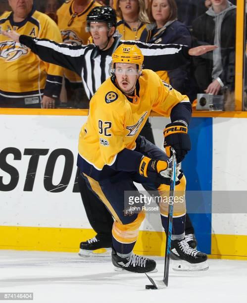 Ryan Johansen of the Nashville Predators skates against the Pittsburgh Penguins during an NHL game at Bridgestone Arena on November 11 2017 in...
