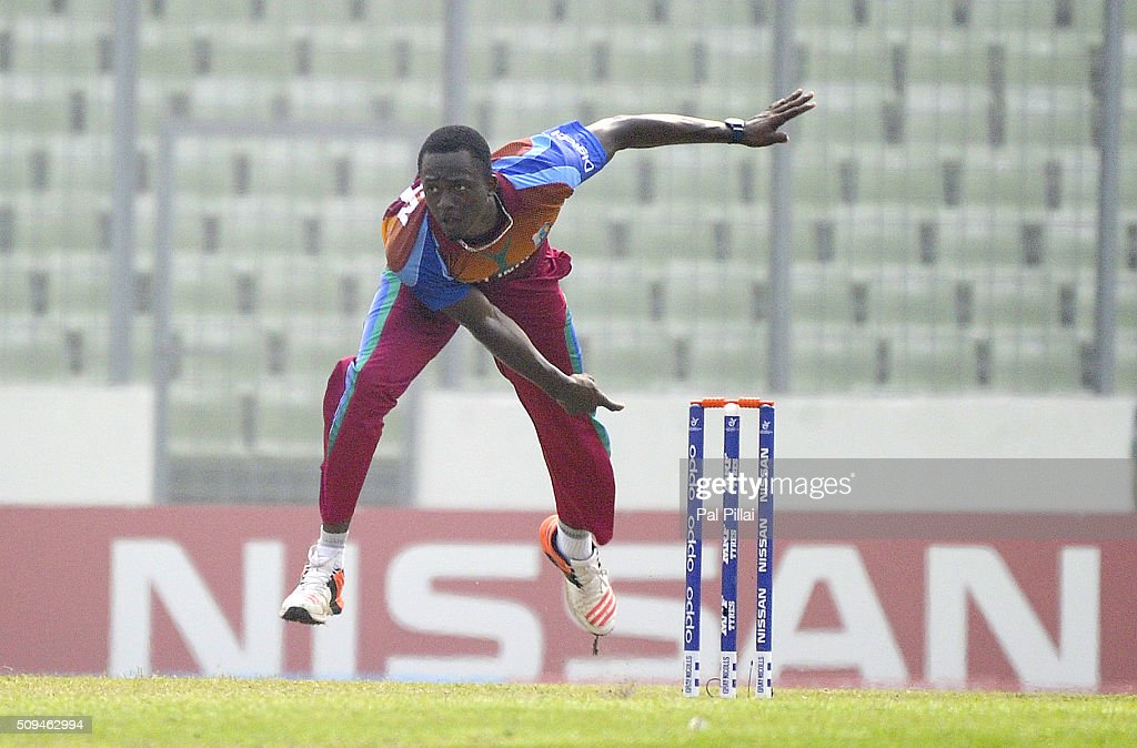 Ryan John of West Indies U19 bowls during the ICC U 19 World Cup Semi-Final match between Bangladesh and West Indies on February 11, 2016 in Dhaka, Bangladesh.