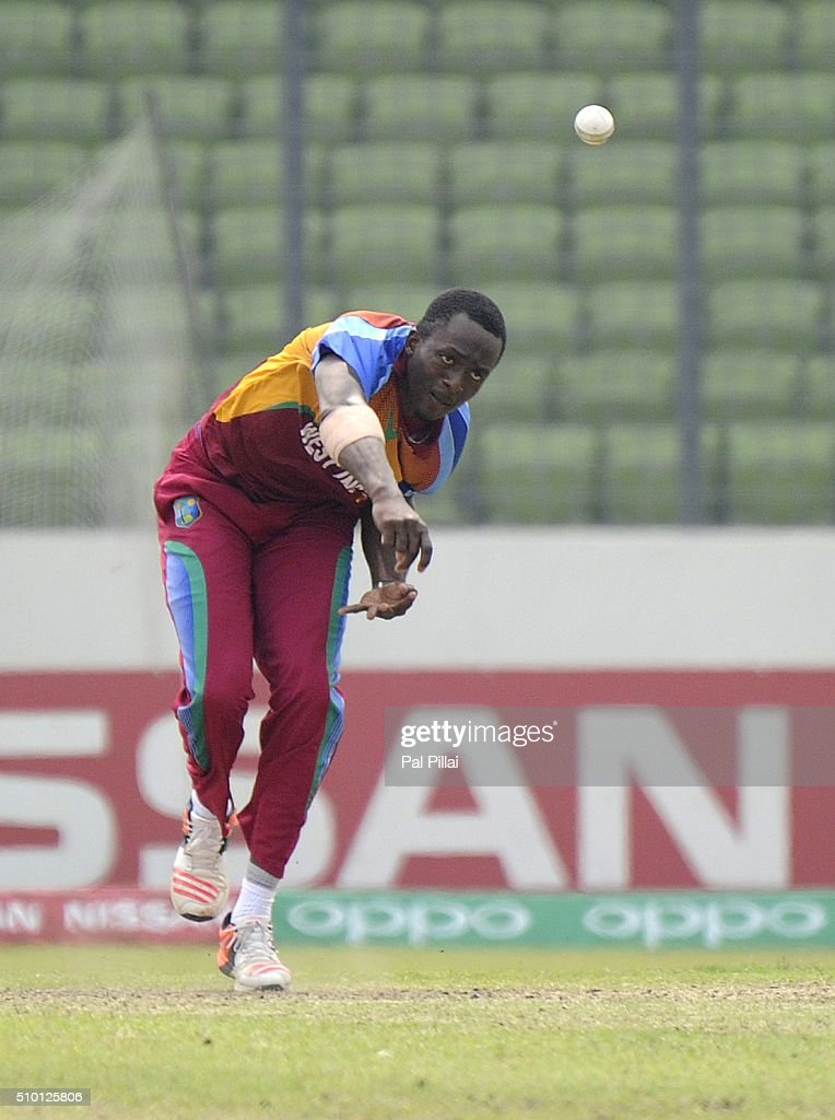 Ryan John of West Indies U19 bowls during the ICC U19 World Cup Final Match between India and West Indies on February 14, 2016 in Dhaka, Bangladesh.