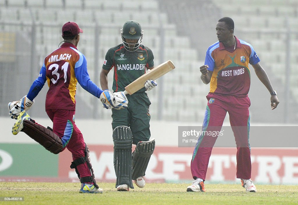 Ryan John of West Indies U19 celebrates the wicket of Nazmul Hossain Shanto of Bangladesh U19 during the ICC U 19 World Cup Semi-Final match between Bangladesh and West Indies on February 11, 2016 in Dhaka, Bangladesh.