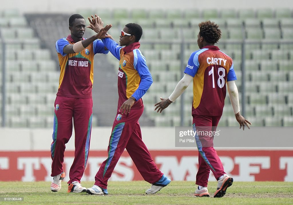 Ryan John of West Indies U19 celebrates the wicket of Sarfaraz Khan of India during the ICC U19 World Cup Final Match between India and West Indies on February 14, 2016 in Dhaka, Bangladesh.