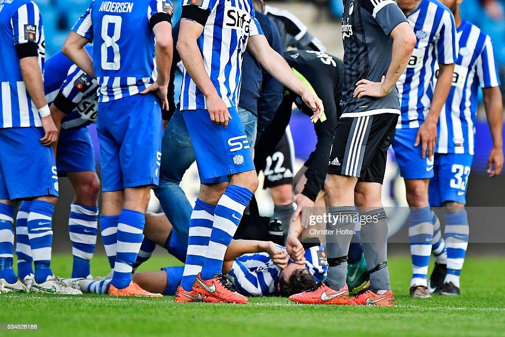 Ryan Johnson Laursen of Esbjerg fB gets injured. The Danish Alka Superliga match between Esbjerg fB and FC Copenhagen at Blue Water Arena on May 26, 2016 in Esbjerg, Denmark.