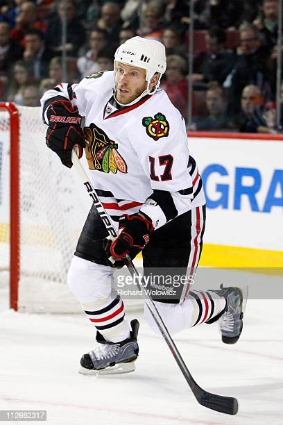 Ryan Johnson of the Chicago Blackhawks skates during the NHL game against the Montreal Canadiens at the Bell Centre on April 5 2011 in Montreal...
