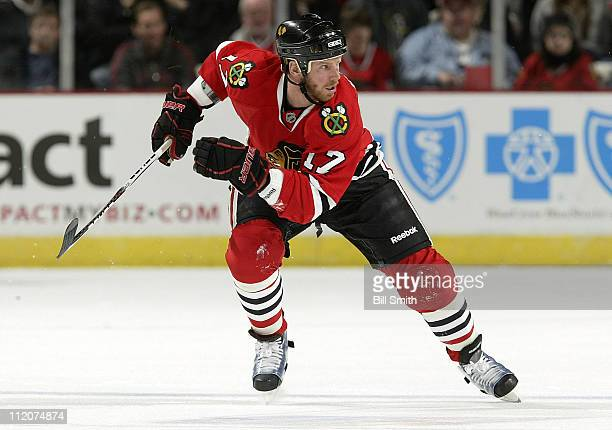 Ryan Johnson of the Chicago Blackhawks skates up the ice during the game against the St Louis Blues on April 6 2011 at the United Center in Chicago...