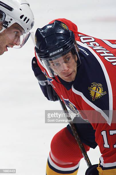 Ryan Johnson of the Florida Panthers waits for the face off during the NHL game against the Atlanta Thrashers at Philips Arena on October 12 in...