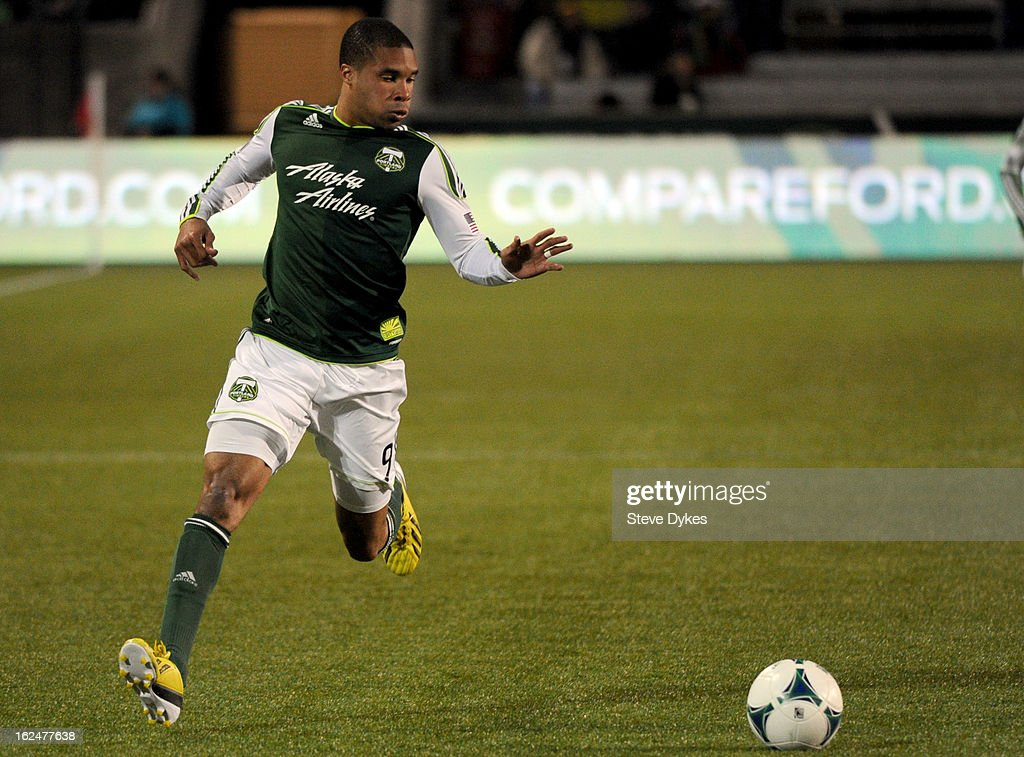 Ryan Johnson #9 of the Portland Timbers brings th ball up the field during the second half of the game against AIK at Jeld-Wen Field on February 23, 2013 in Portland, Oregon. The game ended in a 1-1 draw.
