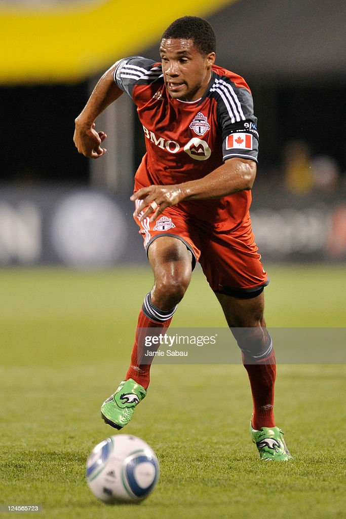 Ryan Johnson #9 of Toronto FC controls the ball against the Columbus Crew on September 10, 2011 at Crew Stadium in Columbus, Ohio. Johnson had a goal in Toronto FC's 4-2 win over Columbus.