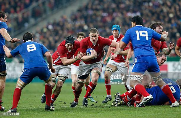 Ryan Jones and Ian Evans of Wales drive on during the RBS Six Nations match between France and Wales at Stade de France on February 9 2013 in Paris...