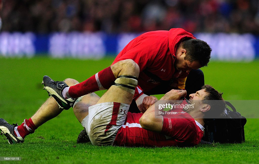 <a gi-track='captionPersonalityLinkClicked' href=/galleries/search?phrase=Ryan+Jones+-+Rugby+Player&family=editorial&specificpeople=218029 ng-click='$event.stopPropagation()'>Ryan Jones</a> of Wales receives treatment during the RBS Six Nations match between Scotland and Wales at Murrayfield Stadium on March 9, 2013 in Edinburgh, Scotland.