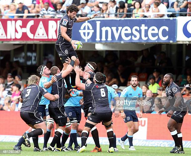 Ryan Kankowski of the Cell C Sharks during the Super Rugby match between Cell C Sharks and Waratahs at Growthpoint Kings Park on March 29 2014 in...