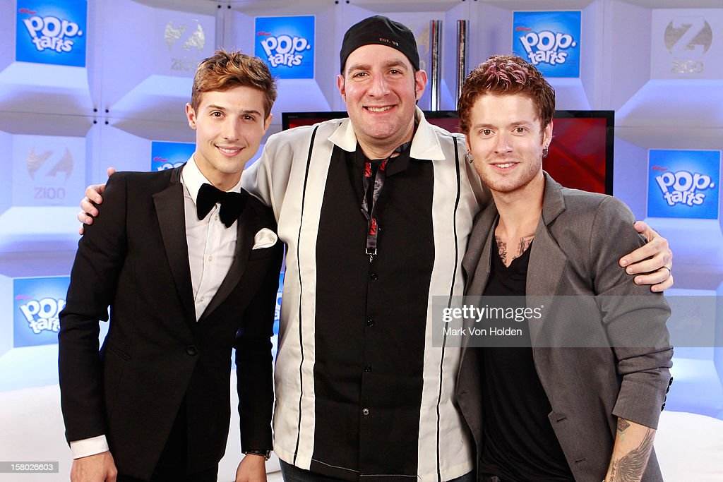 Ryan Keith Follese and <a gi-track='captionPersonalityLinkClicked' href=/galleries/search?phrase=Nash+Overstreet&family=editorial&specificpeople=5926678 ng-click='$event.stopPropagation()'>Nash Overstreet</a> of Hot Chelle Rae and JJ Kincaid attend the Z100 Artist Gift Lounge Presented by Pop Tarts at Z100's Jingle Ball 2012 at Madison Square Garden on December 7, 2012 in New York City.