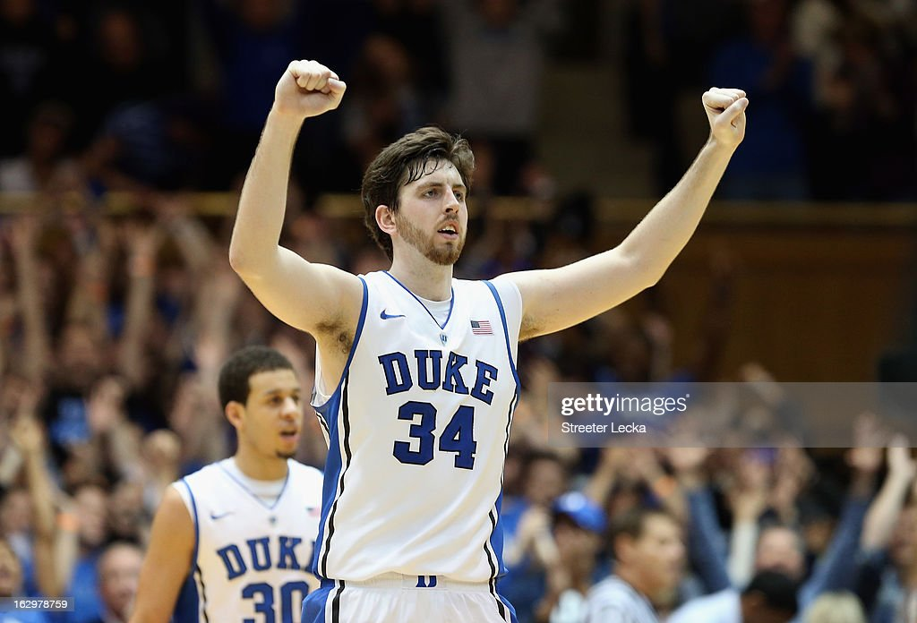 Ryan Kelly #34 of the Duke Blue Devils celebrates after defeating the Miami Hurricanes 79-76 during their game at Cameron Indoor Stadium on March 2, 2013 in Durham, North Carolina.