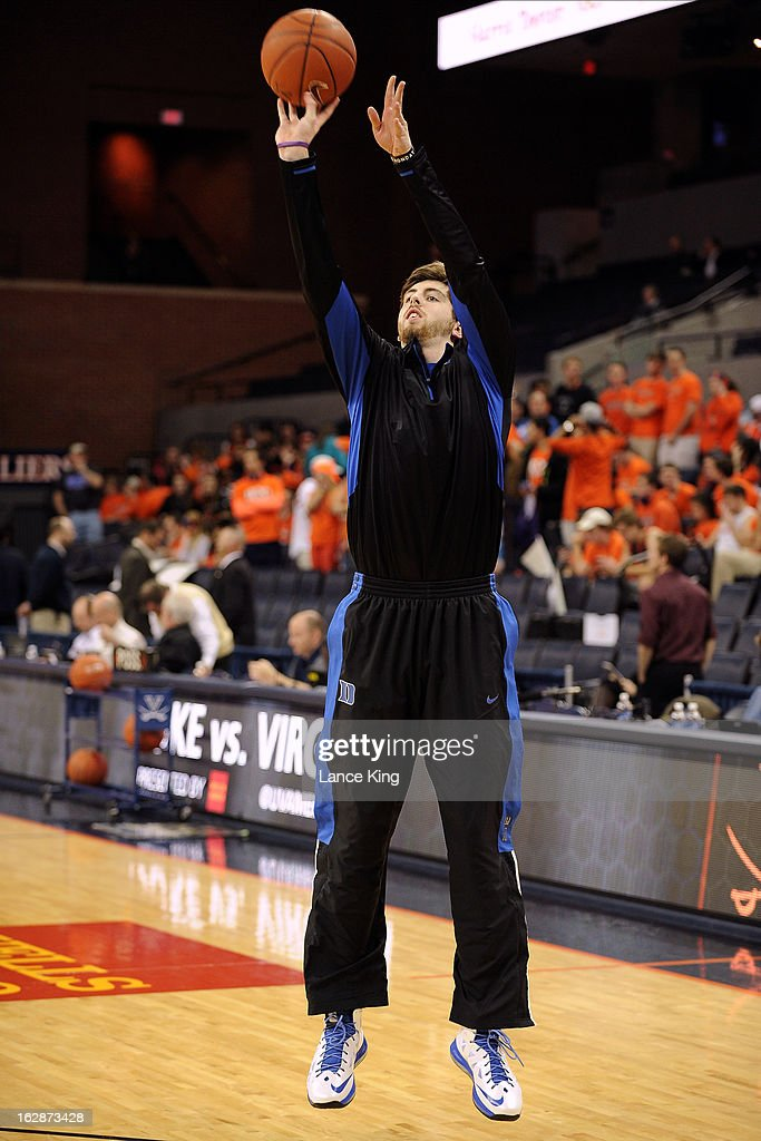 Ryan Kelly #34 of the Duke Blue Devils warms up prior to a game against the Virginia Cavaliers at John Paul Jones Arena on February 28, 2013 in Charlottesville, Virginia.
