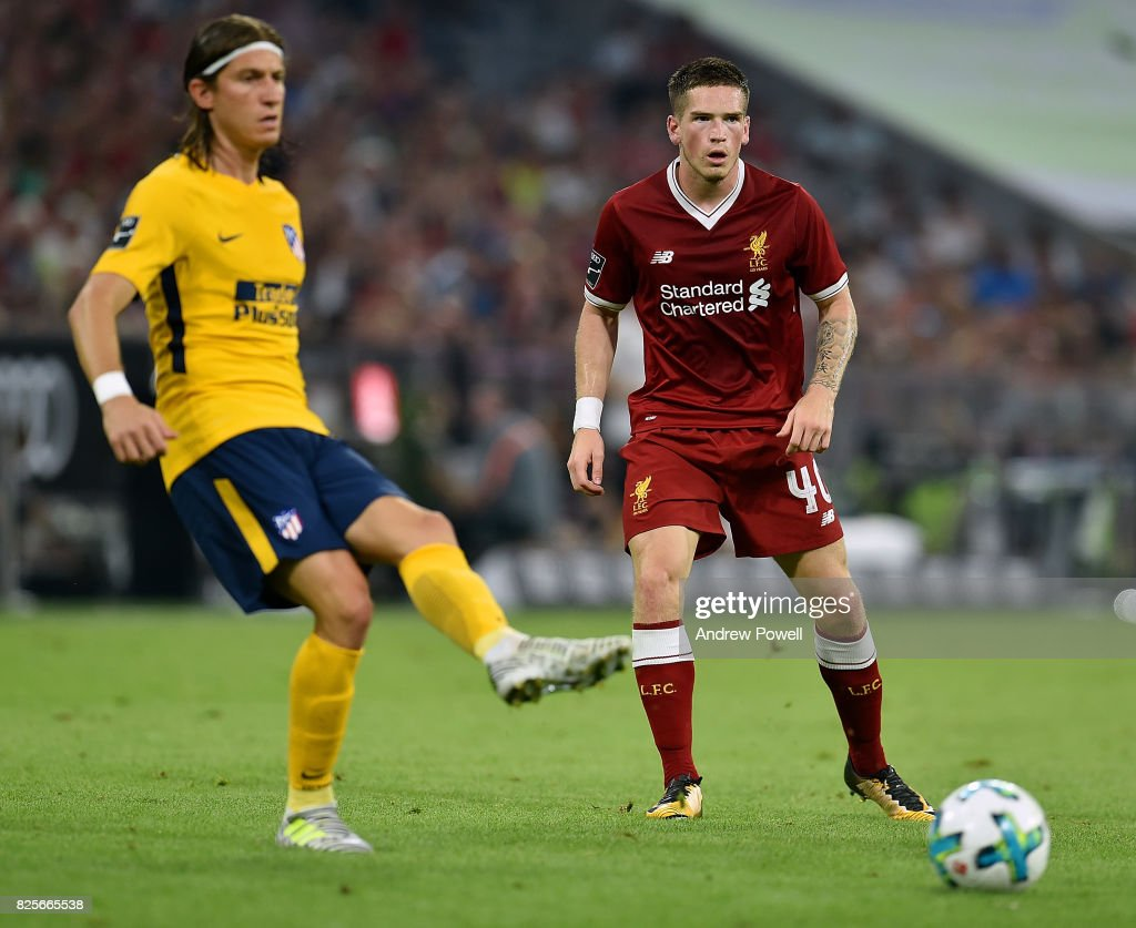 Ryan Kent of Liveprool and Filipe Luis of Atletico Madrid during the Audi Cup 2017 match between Liverpool FC and Atletico Madrid at Allianz Arena on August 2, 2017 in Munich, Germany.