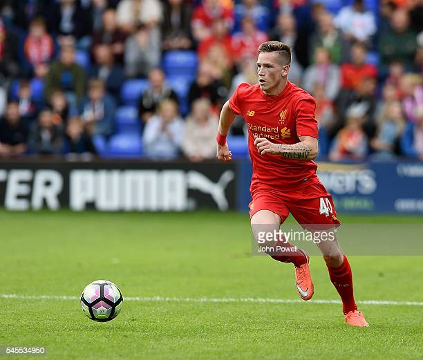 Ryan Kent of Liverpool in action during a PreSeason Friendly match between Tranmere Rovers and Liverpool at Prenton Park on July 8 2016 in Birkenhead...