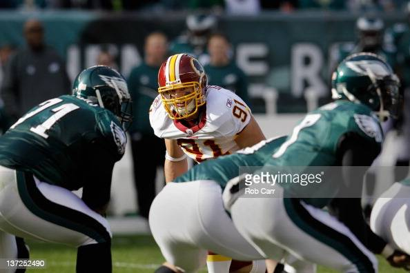 Ryan Kerrigan of the Washington Redskins lines up against the Philadelphia Eagles offense at Lincoln Financial Field on January 1 2012 in...