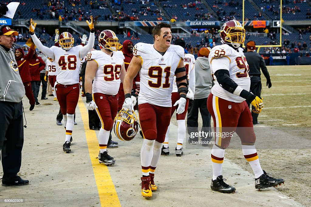 Ryan Kerrigan #91 of the Washington Redskins reacts on the sidelines after the Redskins scored against the Chicago Bears in the fourth quarter at Soldier Field on December 24, 2016 in Chicago, Illinois. The Washington Redskins defeated the Chicago Bears 41-21.