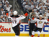 Ryan Kesler and Jakob Silfverberg of the Anaheim Ducks celebrate a late third period goal against the Winnipeg Jets in Game Three of the Western...