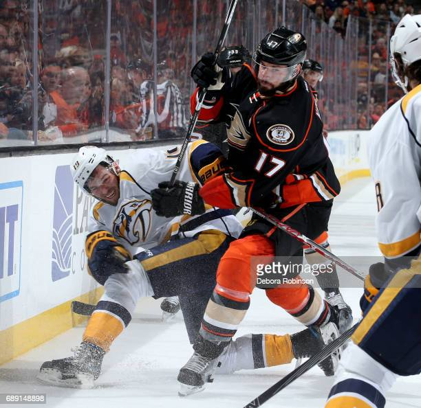Ryan Kesler of the Anaheim Ducks battles for position against Calle Jarnkrok of the Nashville Predators in Game Five of the Western Conference Final...