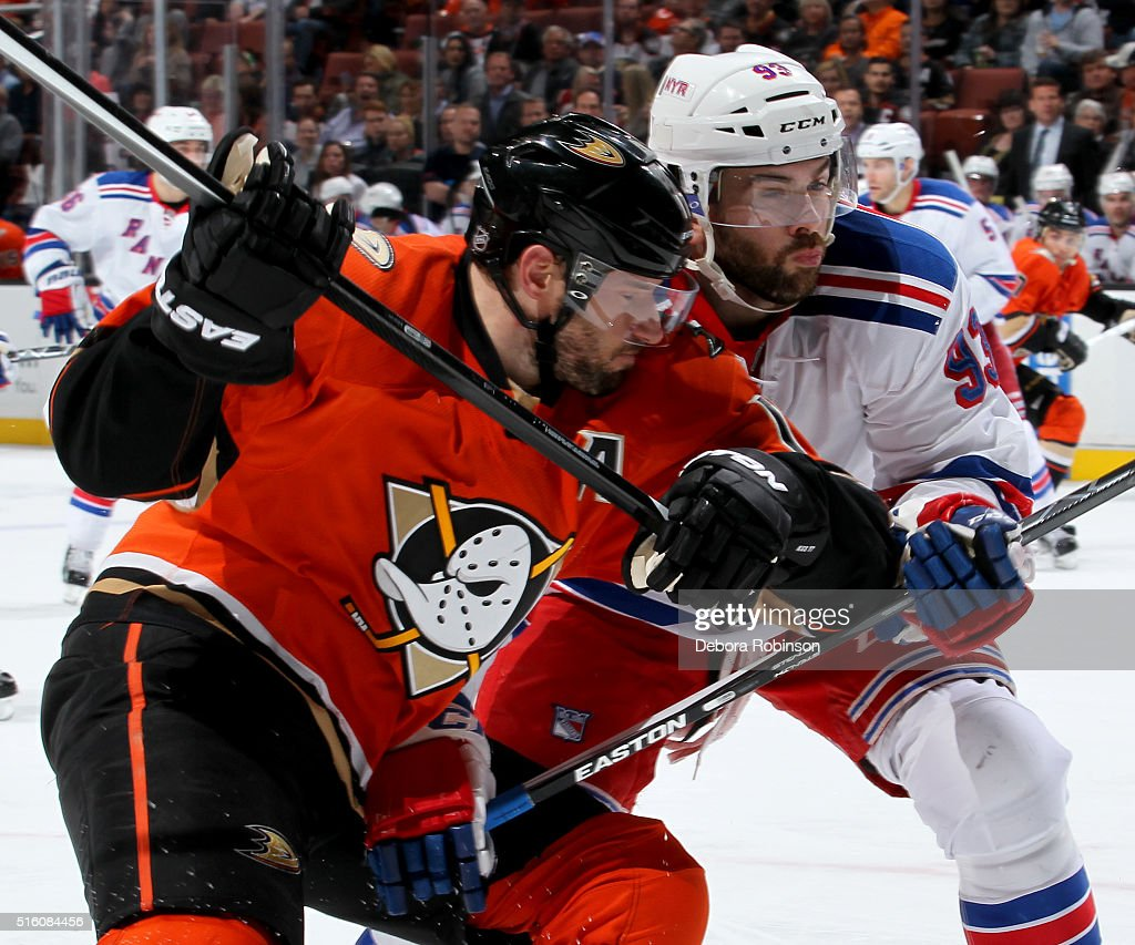 Ryan Kesler #17 of the Anaheim Ducks battles for position against Keith Yandle #93 of the New York Rangers on March 16, 2016 at Honda Center in Anaheim, California.
