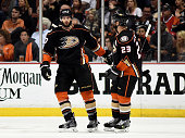 Ryan Kesler of the Anaheim Ducks celebrates his second period goal with Francois Beauchemin against the Chicago Blackhawks in Game Seven of the...