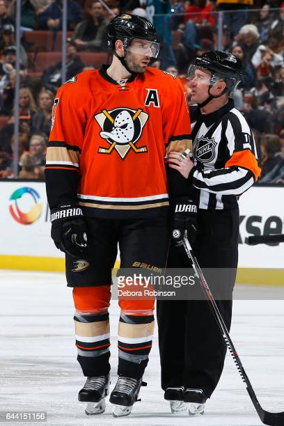 Ryan Kesler of the Anaheim Ducks chats with referee Kelly Sutherland during the game against the Florida Panthers on February 17 2017 at Honda Center...