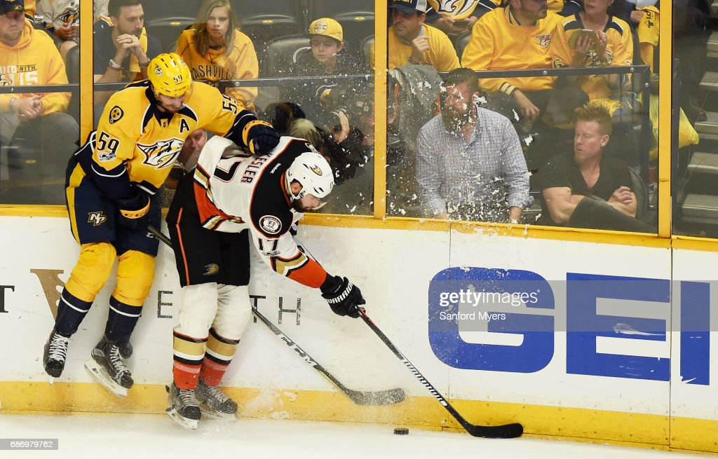 Ryan Kesler #17 of the Anaheim Ducks checks Roman Josi #59 of the Nashville Predators during the second period in Game Six of the Western Conference Final during the 2017 Stanley Cup Playoffs at Bridgestone Arena on May 22, 2017 in Nashville, Tennessee.