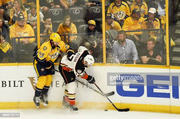 Ryan Kesler of the Anaheim Ducks checks Roman Josi of the Nashville Predators during the second period in Game Six of the Western Conference Final...
