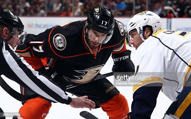 Ryan Kesler of the Anaheim Ducks faces off against Matt Cullen of the Nashville Predators on March 15 2015 at Honda Center in Anaheim California