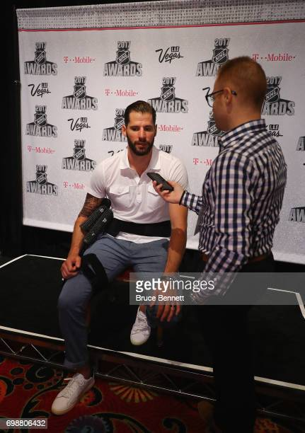 Ryan Kesler of the Anaheim Ducks is interviewed during media availability for the 2017 NHL Awards at Encore Las Vegas on June 20 2017 in Las Vegas...
