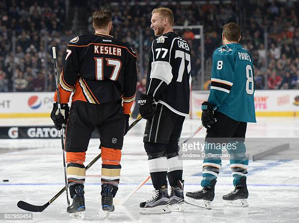 Ryan Kesler of the Anaheim Ducks Jeff Carter of the Los Angeles Kings and Joe Pavelski of the San Jose Sharks look on during the Gatorade NHL Skills...