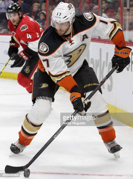 Ryan Kesler of the Anaheim Ducks plays in a game against the Ottawa Senators at Canadian Tire Centre on December 19 2014 in Ottawa Ontario Canada