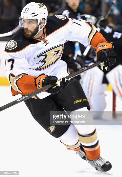 Ryan Kesler of the Anaheim Ducks plays in a game against the San Jose Sharks at SAP Center on January 29 2015 in San Jose California