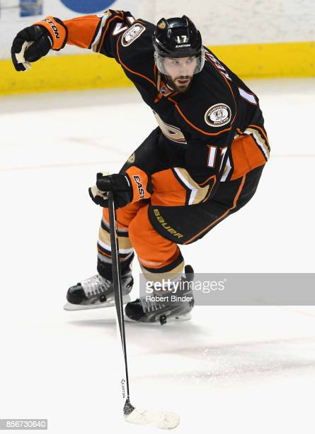 Ryan Kesler of the Anaheim Ducks plays in a game against the Toronto Maple Leafs at Honda Center on January 14 2015 in Anaheim California