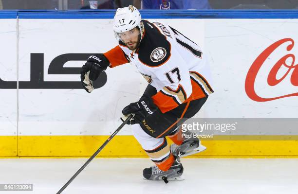 Ryan Kesler of the Anaheim Ducks plays in the game against the New York Rangers at Madison Square Garden on March 22 2015 in New York New York