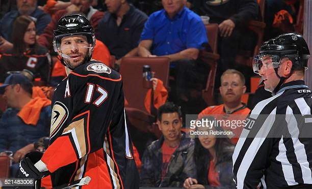 Ryan Kesler of the Anaheim Ducks questions a call by linesman Derek Nansen during Game One of the Western Conference Quarterfinals against the...