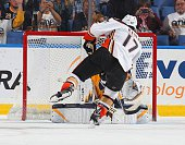 Ryan Kesler of the Anaheim Ducks scores a goal on a third period penalty shot against Michal Neuvirth of the Buffalo Sabres on October 13 2014 at the...