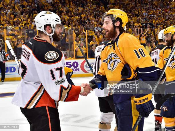 Ryan Kesler of the Anaheim Ducks shakes hands with of the Nashville Predators after a 63 Predators victory over the Ducks in Game Six of the Western...