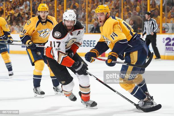 Ryan Kesler of the Anaheim Ducks skates against Mattias Ekholm of the Nashville Predators in Game Four of the Western Conference Final during the...