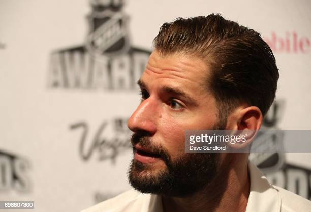 Ryan Kesler of the Anaheim Ducks speaks to reporters during the 2017 NHL Awards media availability on June 20 2017 in Las Vegas Nevada