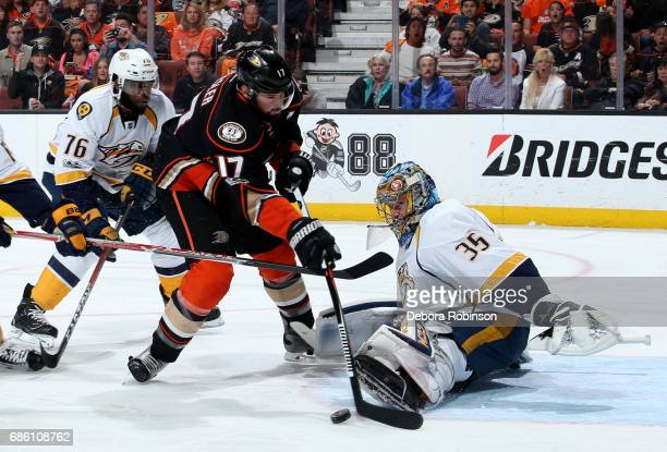 Ryan Kesler of the Anaheim Ducks takes a shot on goal against Pekka Rinne of the Nashville Predators in Game Five of the Western Conference Final...