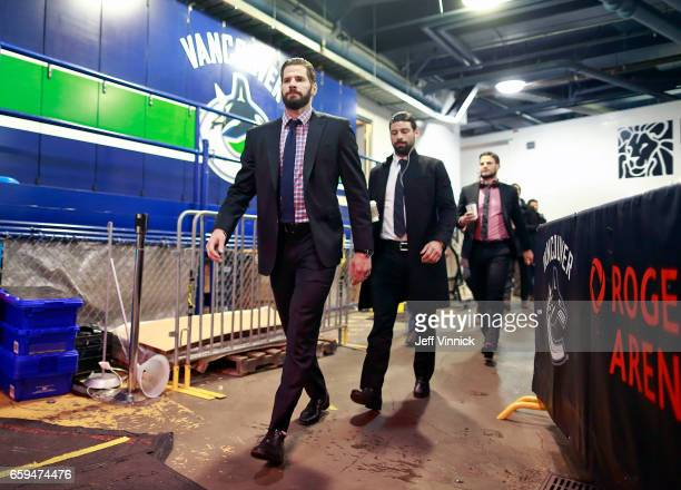 Ryan Kesler of the Anaheim Ducks walks to the team dressing room before their NHL game against the Vancouver Canucks at Rogers Arena March 28 2017 in...