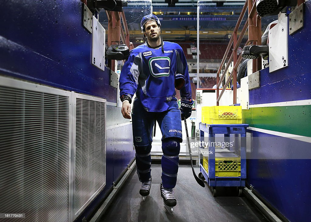 Ryan Kesler #17 of the Vancouver Canucks walks off the ice after a game-day skate before their NHL game against the Dallas Stars at Rogers Arena February 15, 2013 in Vancouver, British Columbia, Canada. Kesler is returning to the Canucks lineup tonight after missing play because of multiple surgeries.