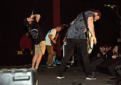 Ryan Kirby Bobby Lynge and Ryan O'Leary of the Christian metal band Fit For A King performs live onstage at The Emerson Theater on October 23 2014 in...