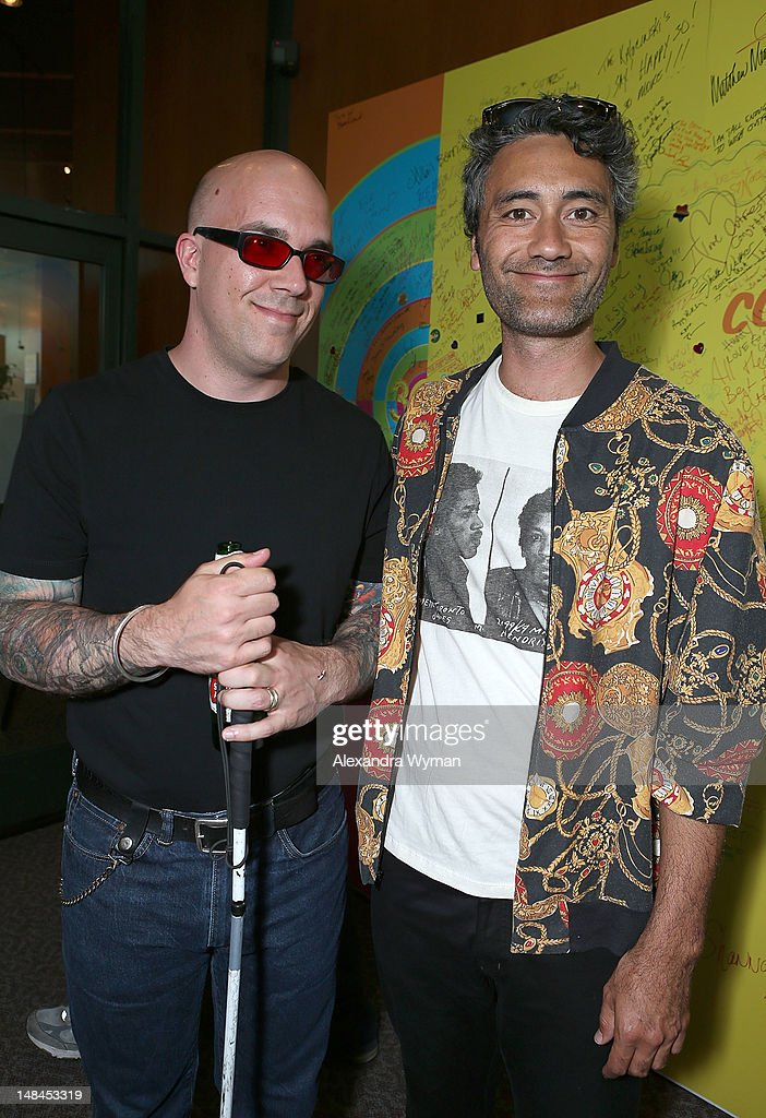 Ryan Knighton and <a gi-track='captionPersonalityLinkClicked' href=/galleries/search?phrase=Taika+Waititi&family=editorial&specificpeople=2226293 ng-click='$event.stopPropagation()'>Taika Waititi</a> at The Sundance Alumni Event At Outfest Festival held at The DGA Theater on July 16, 2012 in Los Angeles, California.