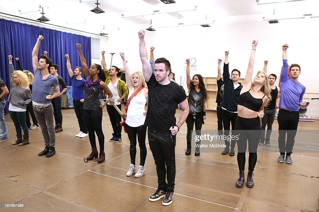 Ryan Knowles, Ruby Lewis, Brian Justin Crum and company perform at the 'We Will Rock You' North America Tour Rehearsals at The New 42nd Street Studios on September 23, 2013 in New York City.