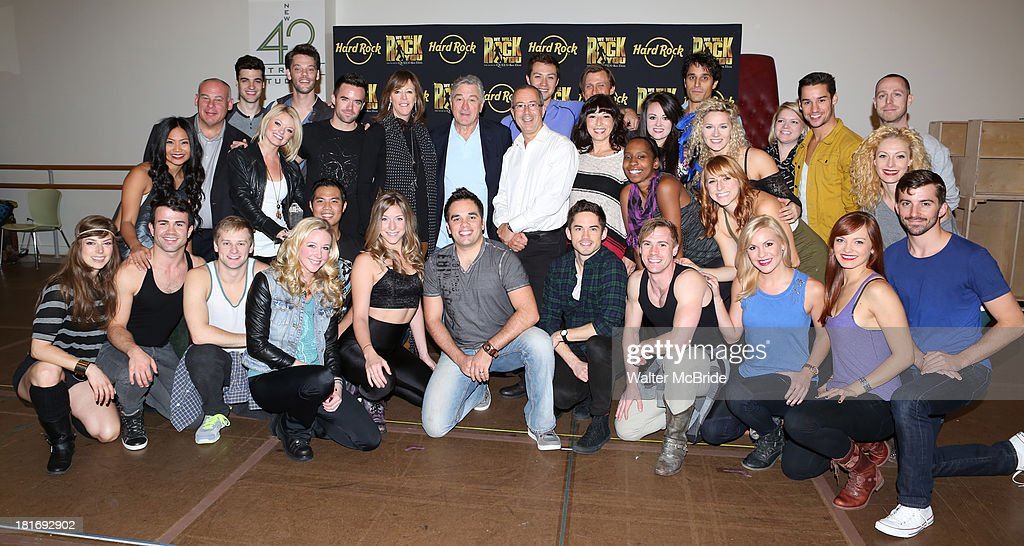 Ryan Knowles, Ruby Lewis, Brian Justin Crum, Jane Rosenthal, Robert De Niro, Erika Peck, Jared Zirilli, Director Ben Elton & Company attend the 'We Will Rock You' North America Tour Rehearsals at The New 42nd Street Studios on September 23, 2013 in New York City.