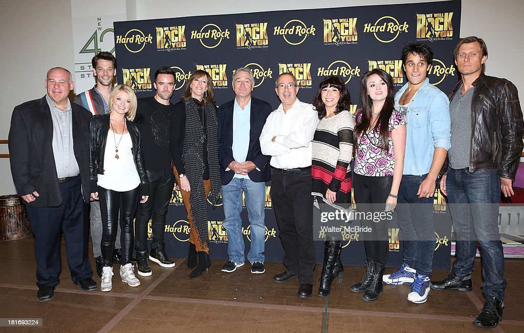 Ryan Knowles, Ruby Lewis, Brian Justin Crum, Jane Rosenthal, Robert De Niro, Erika Peck, Jared Zirilli, P.J. Griffith with Director Ben Elton, Arllene Phillips & Company attend the 'We Will Rock You' North America Tour Rehearsals at The New 42nd Street Studios on September 23, 2013 in New York City.